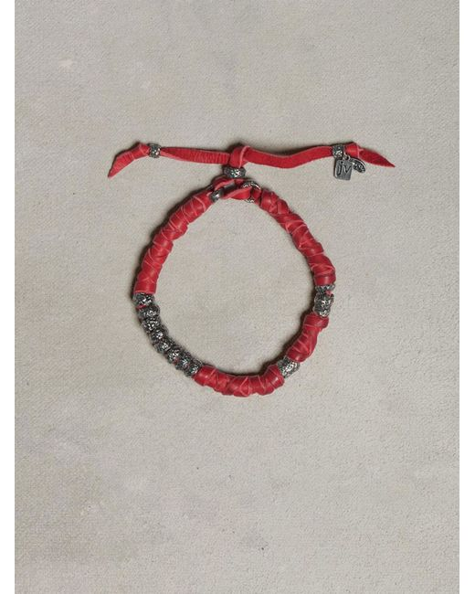 John Varvatos | Red Wrapped Leather Bracelet for Men | Lyst