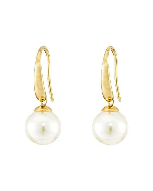 Majorica | Metallic French Wire Round Pearl Drop Earrings | Lyst
