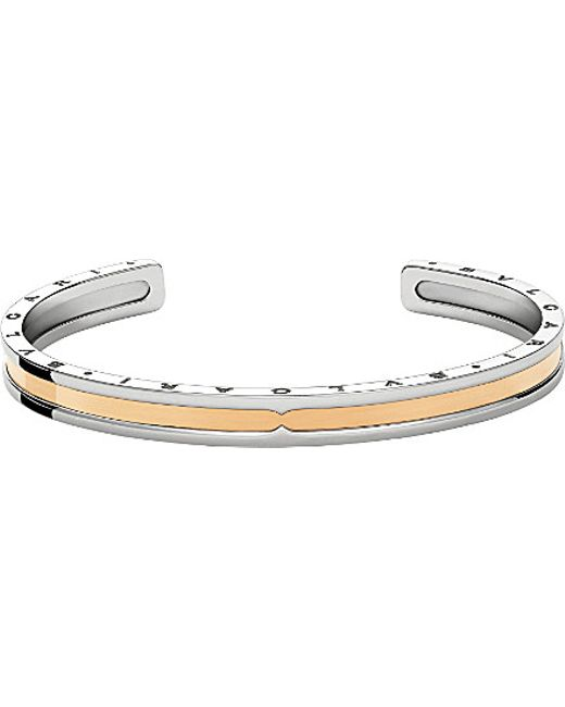 BVLGARI | Metallic B.zero1 Steel And 18kt Pink-gold Bracelet Cuff | Lyst