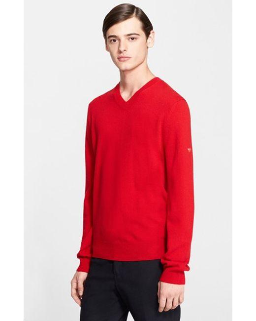Comme des Garçons | Red Play V-neck Sweater for Men | Lyst