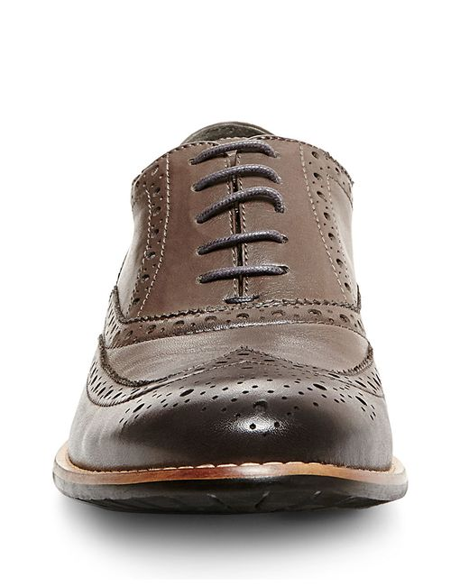 Steve Madden | Gray Gionni Leather Wingtip Oxfords for Men | Lyst