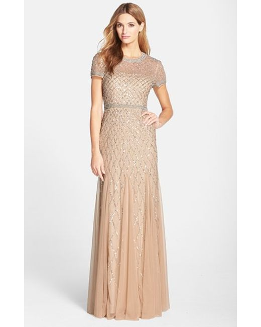 Adrianna Papell | Metallic Beaded Mesh Gown | Lyst