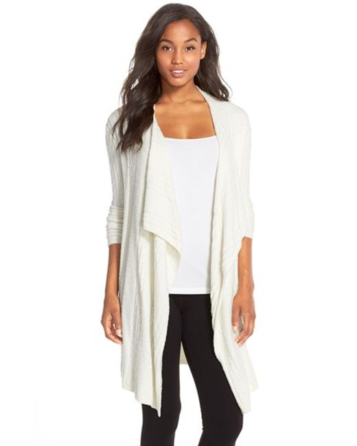 Barefoot Dreams | White Barefoot Dreams Cable Knit Drape Front Cardigan | Lyst