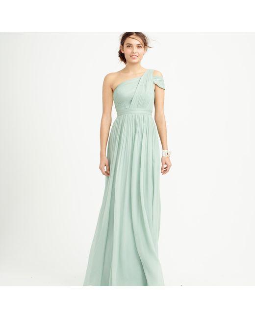 J.Crew | Green Cara Silk-Chiffon Maxi Dress | Lyst