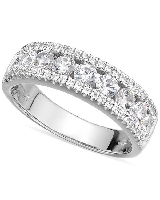 Arabella | Metallic Sterling Silver Swarovski Zirconia Three-row Ring (2-1/10 Ct. T.w.) | Lyst