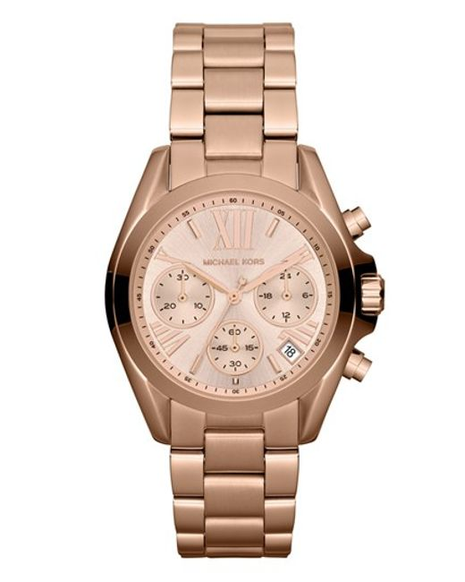MICHAEL Michael Kors | Metallic Michael Kors 'bradshaw - Mini' Chronograph Bracelet Watch | Lyst