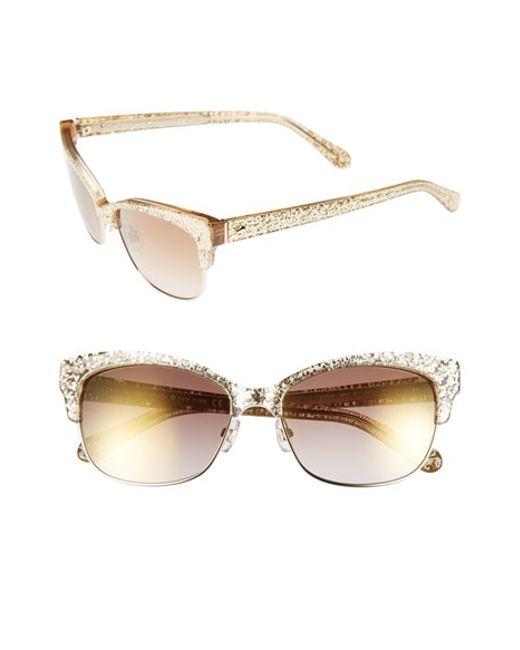 Gold Glitter Glasses Frames : Kate spade 55mm Retro Sunglasses in Gold (gold glitter) Lyst