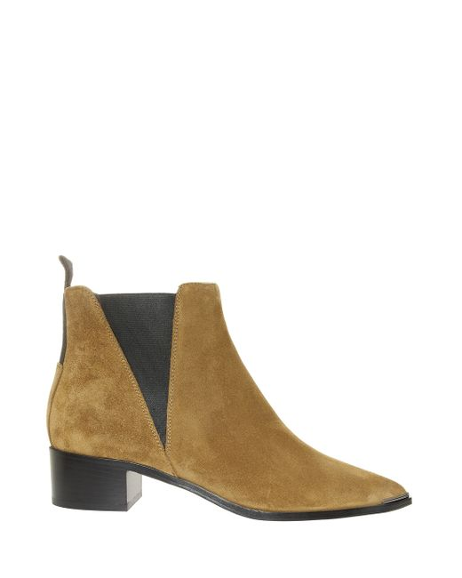 acne suede flat boots in beige save 60 lyst