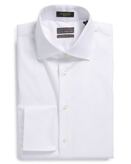 Calibrate trim fit non iron french cuff dress shirt in for Big and tall french cuff dress shirts