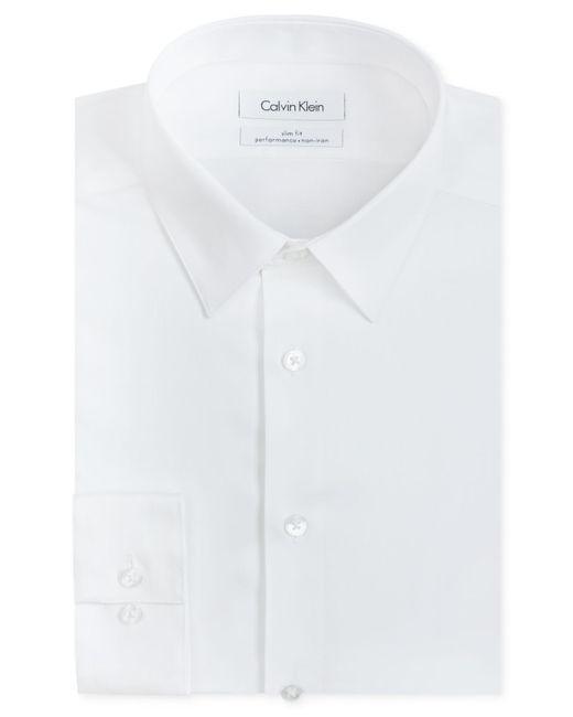 Calvin Klein | White Men's Slim-fit Non-iron Performance Herringbone Dress Shirt for Men | Lyst
