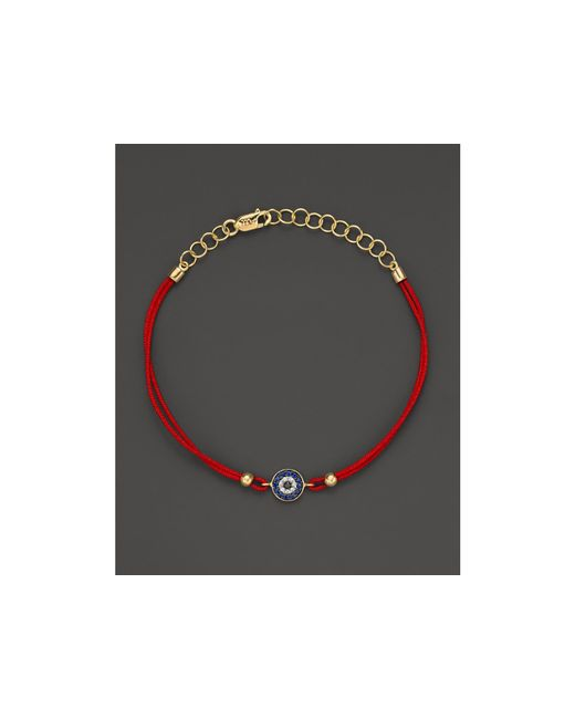 Meira T | Red Diamond, Blue Sapphire And 14k Yellow Gold Evil Eye Bracelet | Lyst
