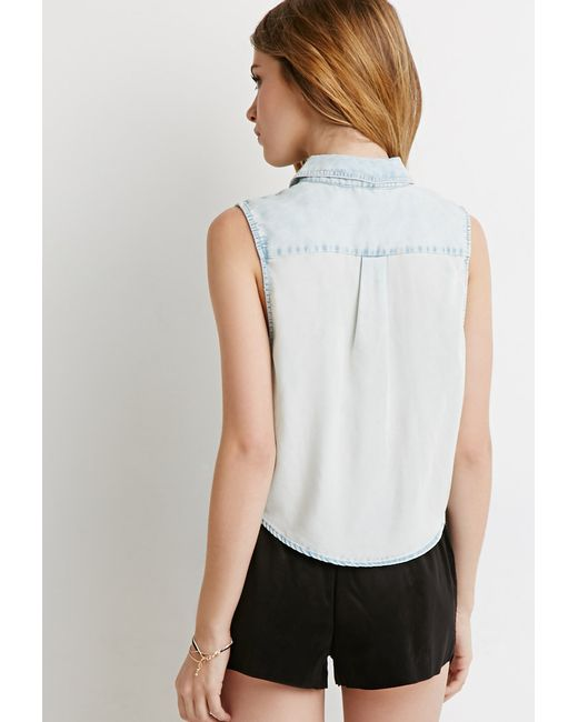 Forever 21   Blue Denim Pocket Shirt   Lyst