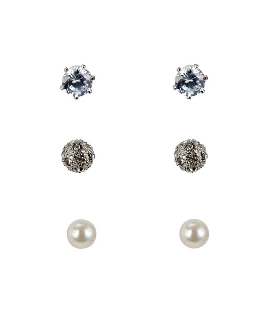 John Lewis | Metallic Faux Pearl And Diamante Round Stud Earrings | Lyst