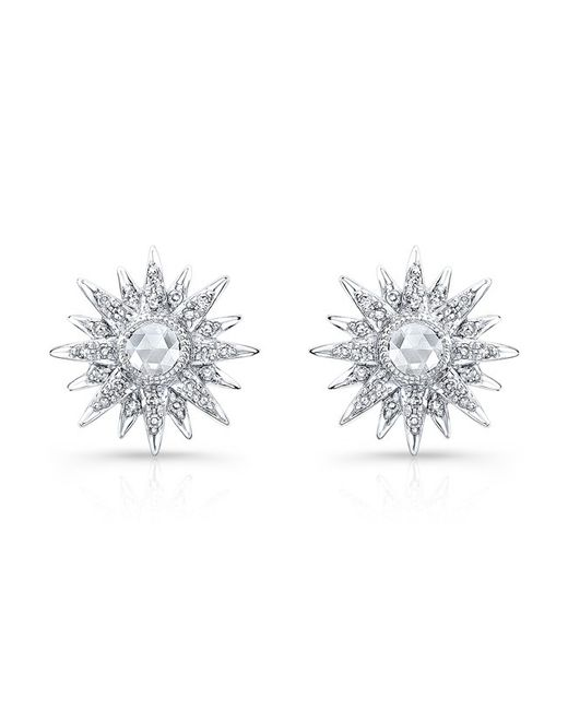 Anne Sisteron - Metallic 14kt White Gold Diamond Vintage Style Starburst Stud Earrings - Lyst