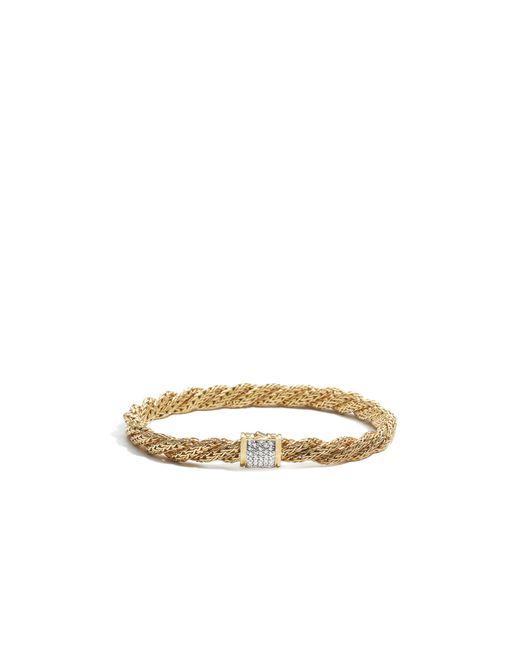 John Hardy | Metallic Women's 18k Gold Classic Chain Diamond Pavé Flat Twisted Chain Bracelet | Lyst