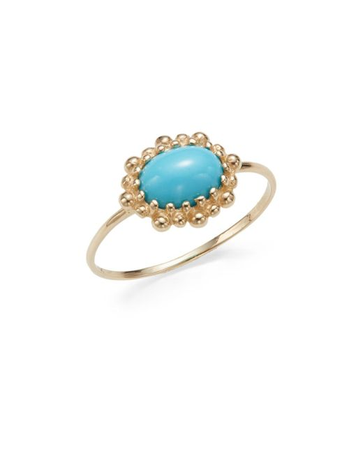 Anzie | Blue Dew Drop Turquoise & 14k Yellow Gold Ring | Lyst