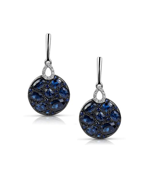 Marco Moore | Blue Sapphire, Diamond And 14k White Gold Drop Earrings | Lyst