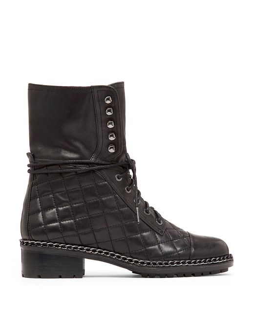 Vince Camuto Joanie Quilted Chain Trim Leather Mid Calf
