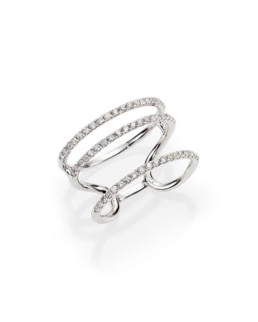 Meira T | Metallic Diamond & 14k White Gold Triple Band Ring | Lyst