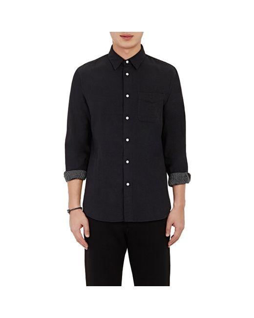 Rag bone solid gauze shirt in black for men lyst for Rag and bone mens shirts sale