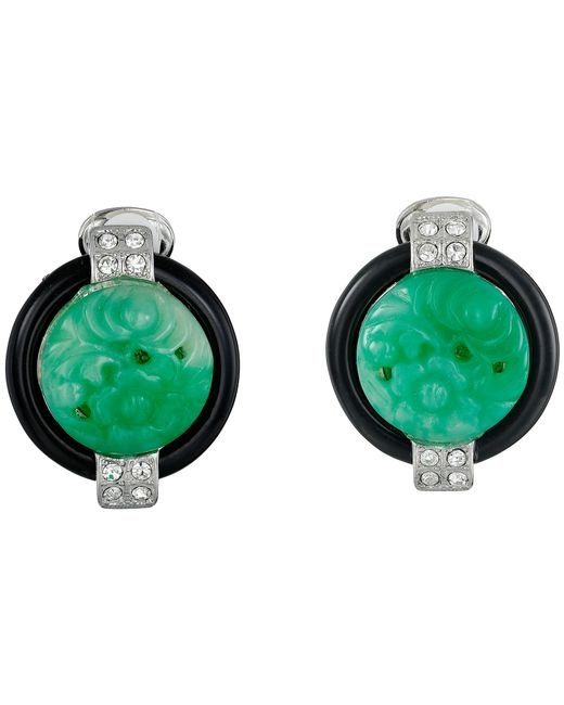Kenneth Jay Lane | Green 7601ebj Base And Top With Crystal Sides Deco Clip Earrings | Lyst