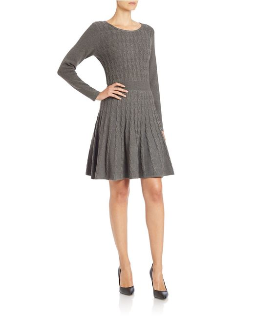 Eliza J Plus Cable Knit Fit And Flare Sweater Dress In