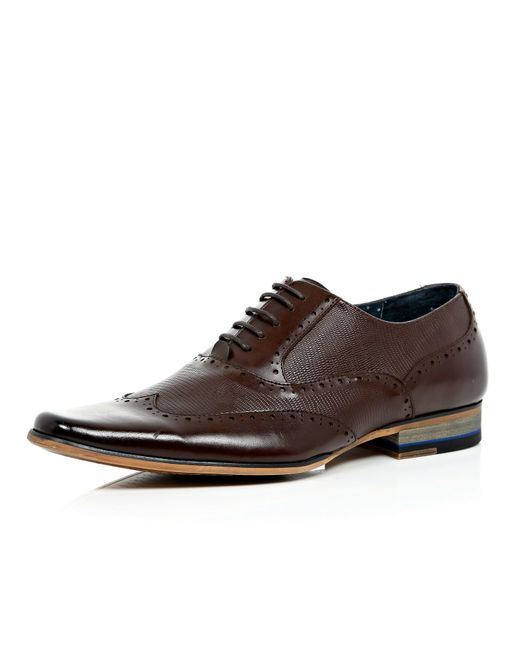 river island brown leather panelled lace up formal shoes