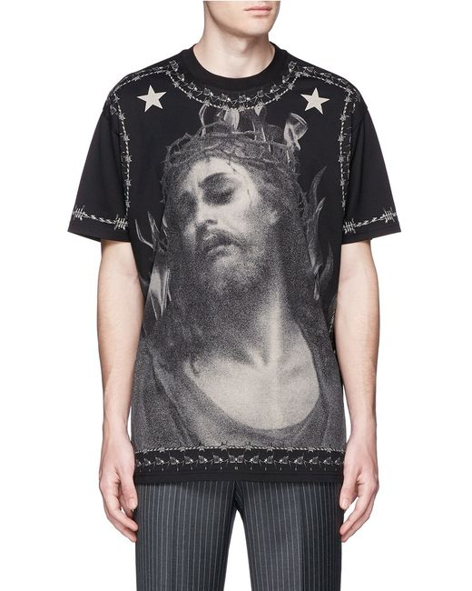 givenchy jesus print cotton t shirt in black for men save 72 lyst. Black Bedroom Furniture Sets. Home Design Ideas