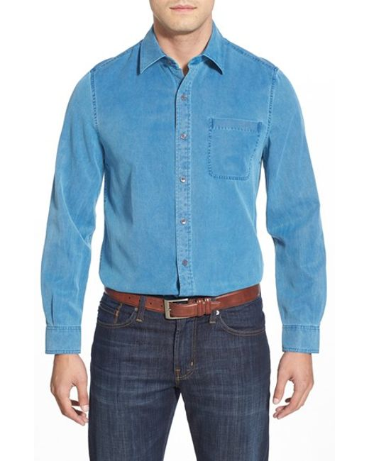 Nat Nast | Blue 'konica' Regular Fit Silk & Cotton Sport Shirt for Men | Lyst