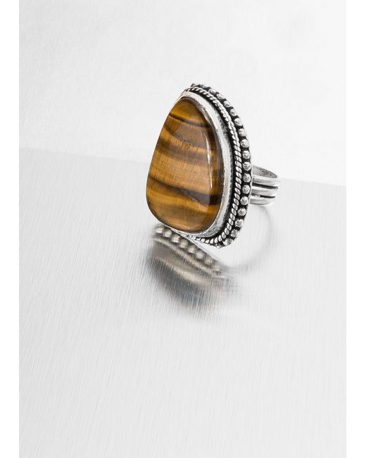 Mango   Brown Tigers Eye Stone Ring   Lyst