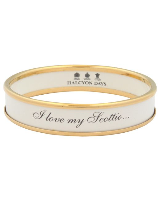 Halcyon Days | White I Love My Scottie Gold Plated Enamel Bangle | Lyst