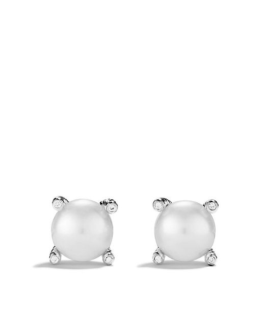 David Yurman | White Pearl Earrings With Diamonds | Lyst