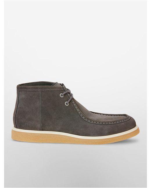 calvin klein fabien suede boot in gray for