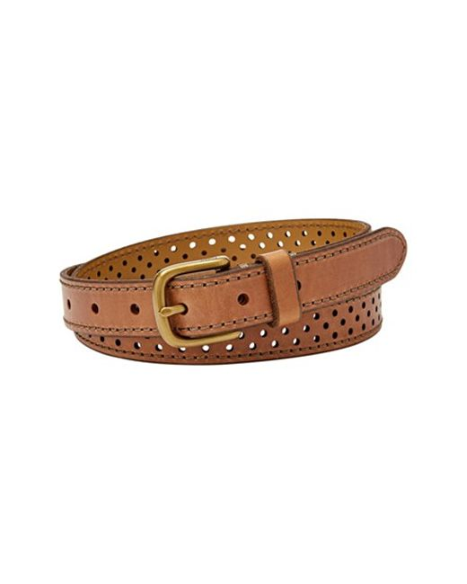 fossil perforated leather belt in brown camel lyst