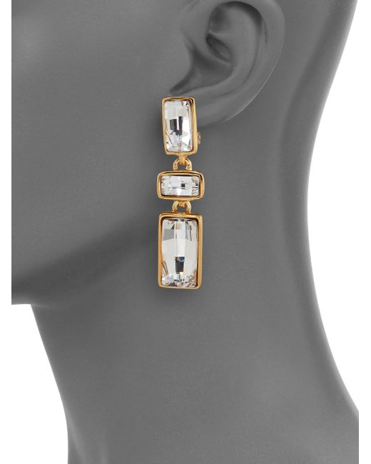 Kenneth Jay Lane | Metallic Jeweled Rectangle Drop Earrings | Lyst