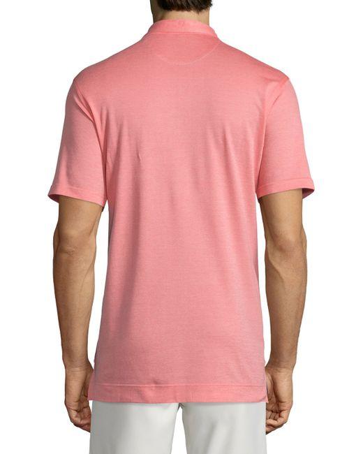 Peter millar short sleeve pique polo shirt in pink for men for Peter millar polo shirts