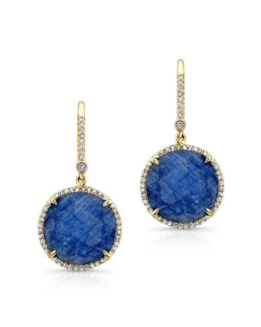 Anne Sisteron | 14kt Yellow Gold Blue Sapphire Diamond Round Earrings | Lyst