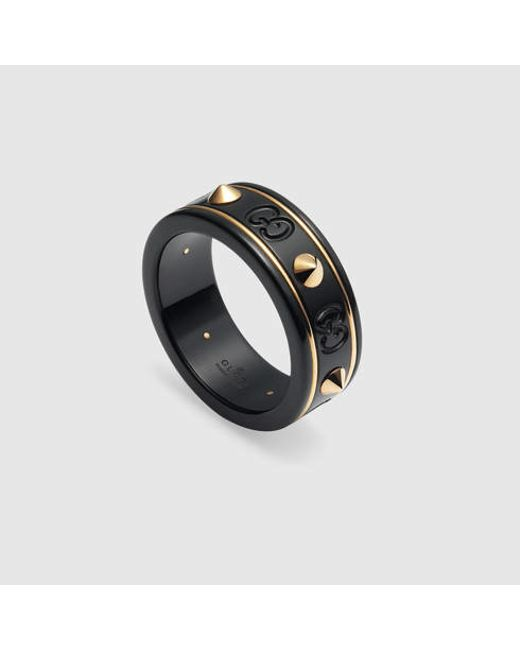 Gucci | Black Icon Ring With Studs In Yellow Gold for Men | Lyst