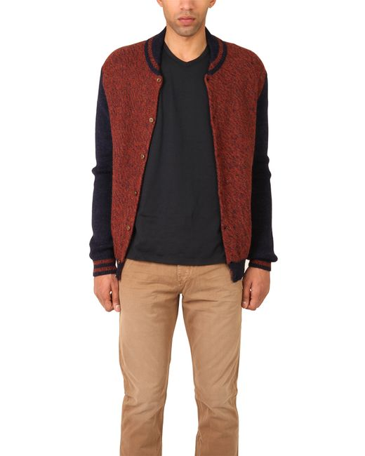 Monsieur lacenaire Knitted Varsity Jacket in Brown for Men Lyst