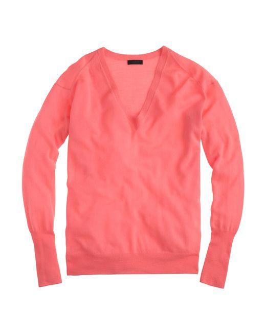 J.Crew | Pink Italian Featherweight Cashmere V-neck Boyfriend Sweater | Lyst
