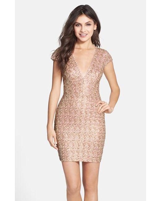Dress the Population | Natural V-Neck Sequin Dress | Lyst