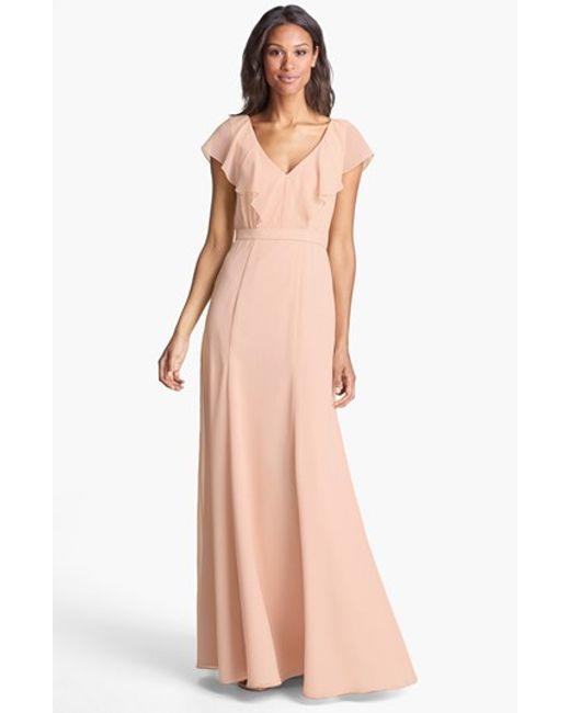 Jenny Yoo | Pink 'cecilia' Ruffled V-neck Chiffon Long Dress | Lyst