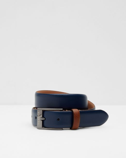 ted baker colored leather belt in blue for navy lyst