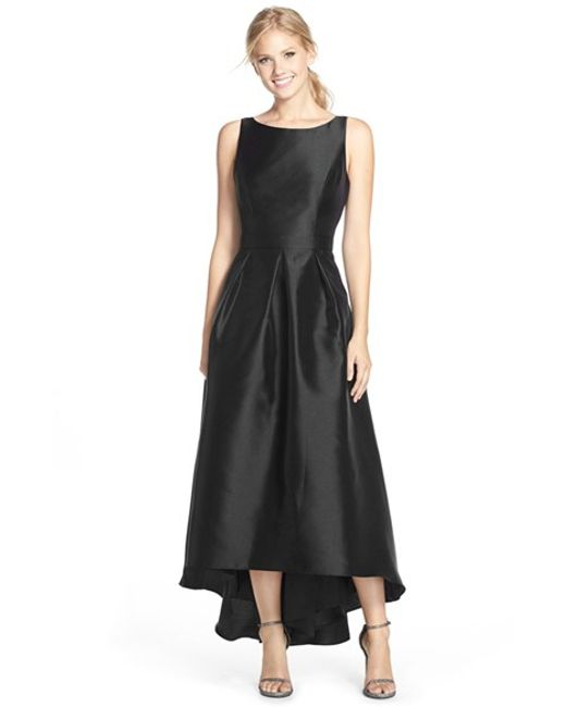 Alfred Sung   Black High/low Hem Sateen Twill Open Back Gown   Lyst