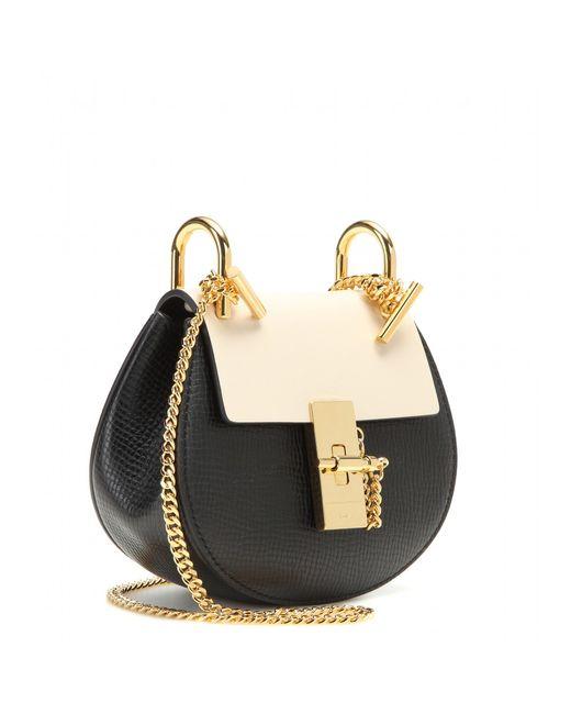 Chlo�� Nano Drew Leather Shoulder Bag in Black | Lyst