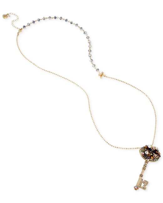 Betsey Johnson | Metallic Gold-tone Crystal Cluster Key Pendant Necklace | Lyst