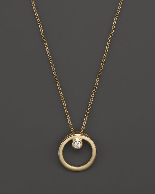 Roberto Coin | Metallic 18k Yellow Gold Small Circle With Diamond Pendant Necklace, 16"