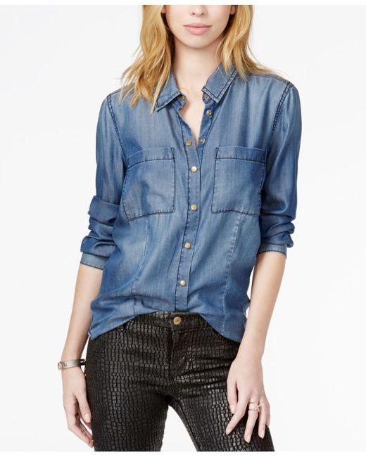 Guess Long Sleeve Denim Shirt In Blue Midlake 2 Wash Lyst