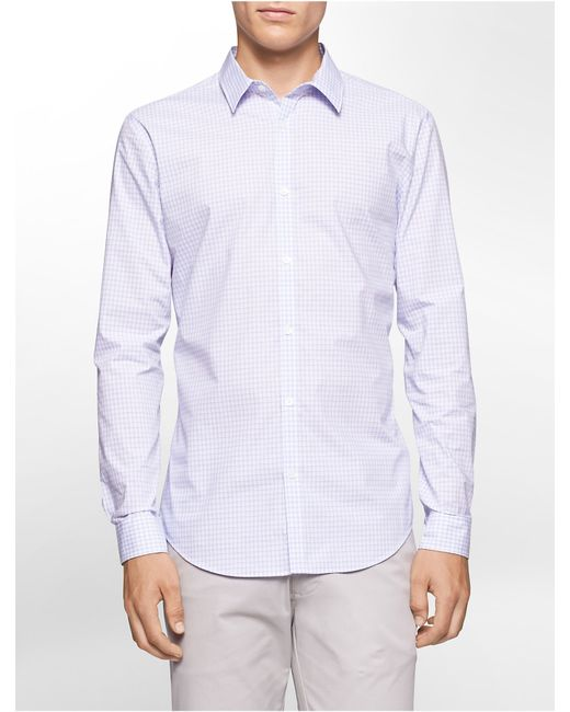 Calvin Klein | Blue Slim Fit Block Check Non-iron Shirt for Men | Lyst