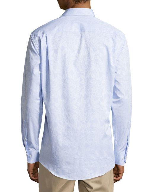 Neiman marcus jacquard no iron dress shirt in blue for men for No iron shirts mens